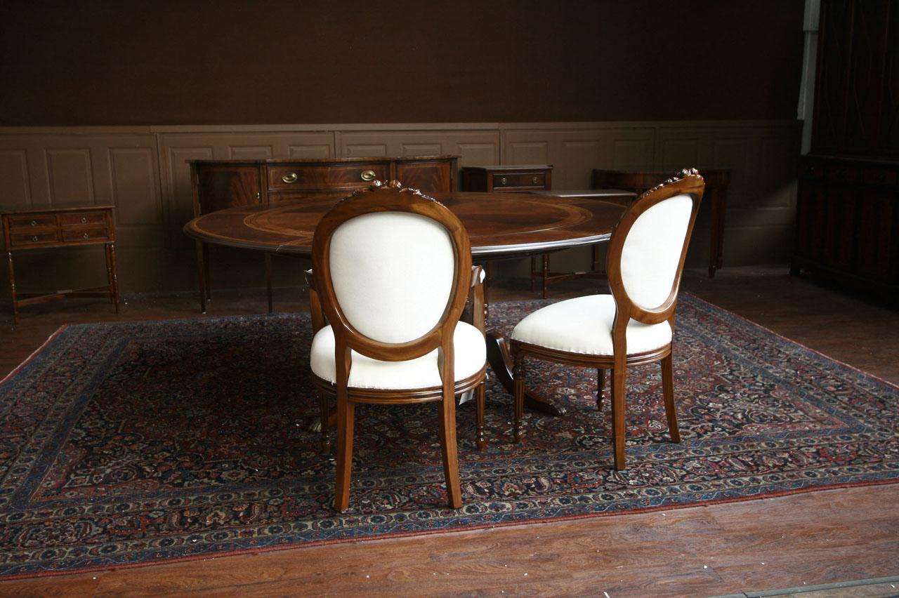 8 Upholstered Dining Chairs Mahogany Round Back Set Of