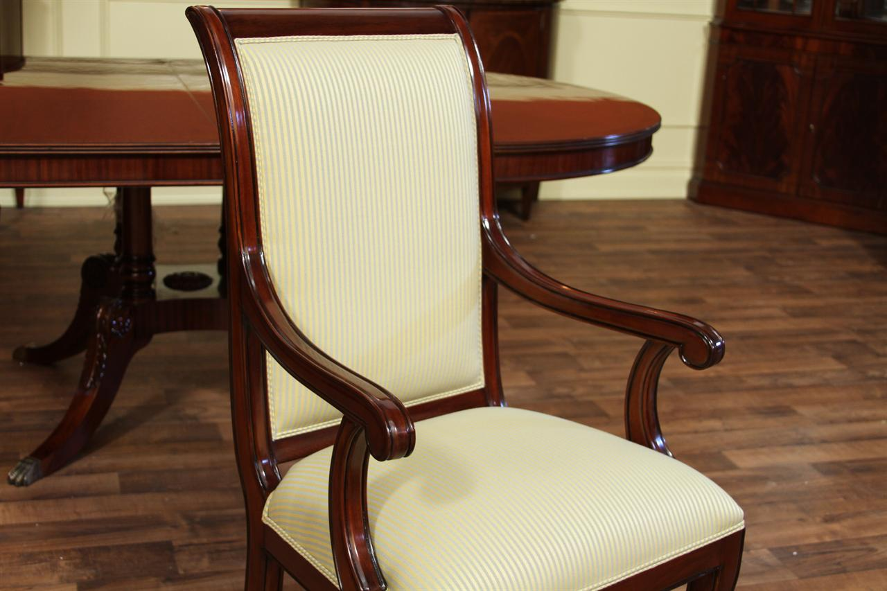 Tall solid mahogany regency style dining chairs with pinstripe fabric