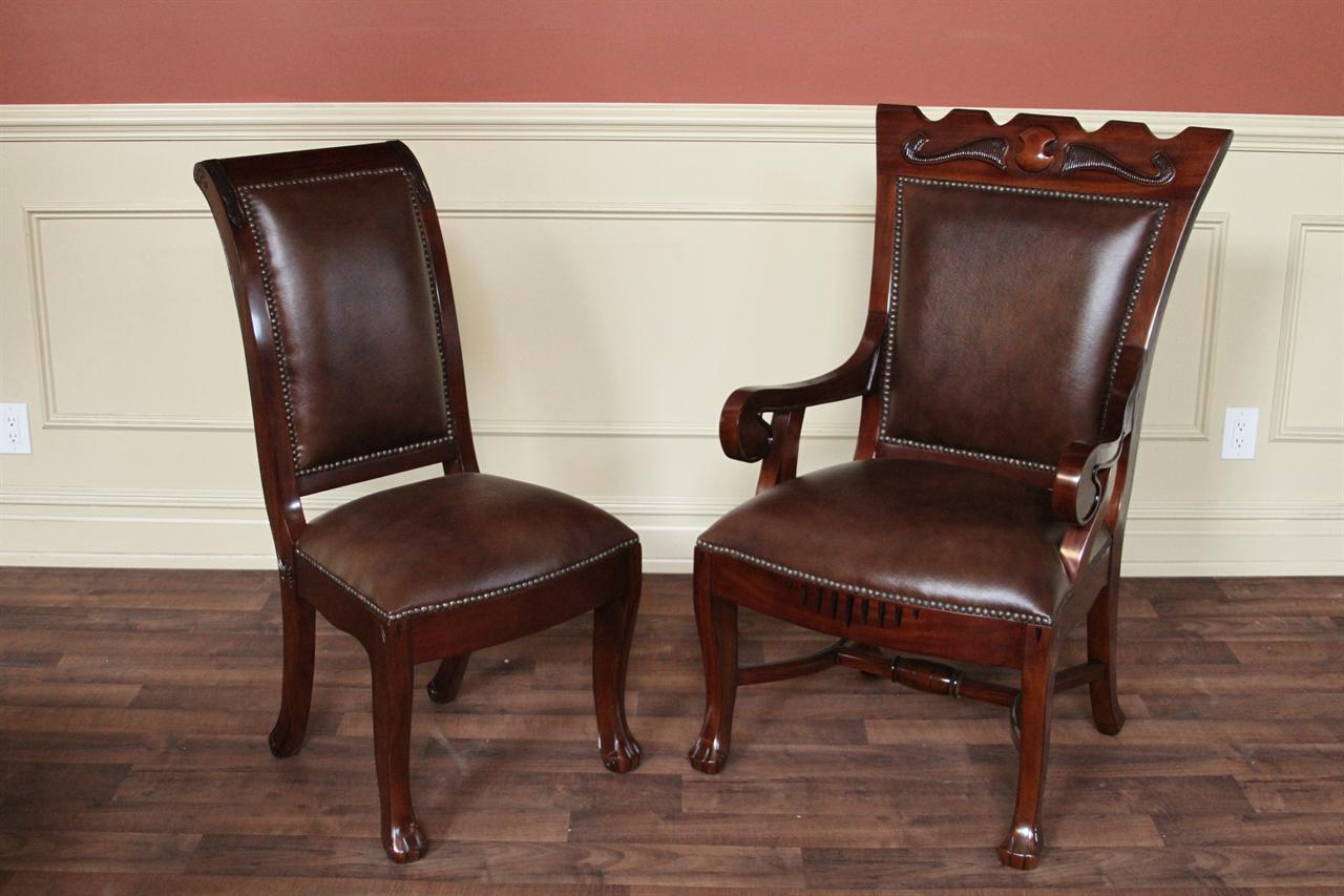 Upholstered regency style dining chairs 2 large arm for Upholstered dining chairs with arms