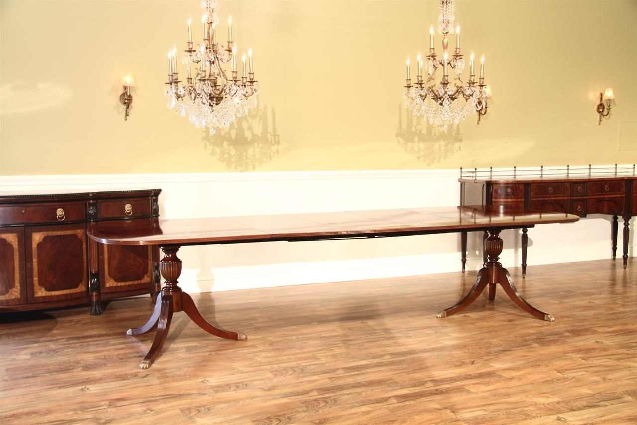 Used Duncan Phyfe Mahogany Double Pedestal Dining Table