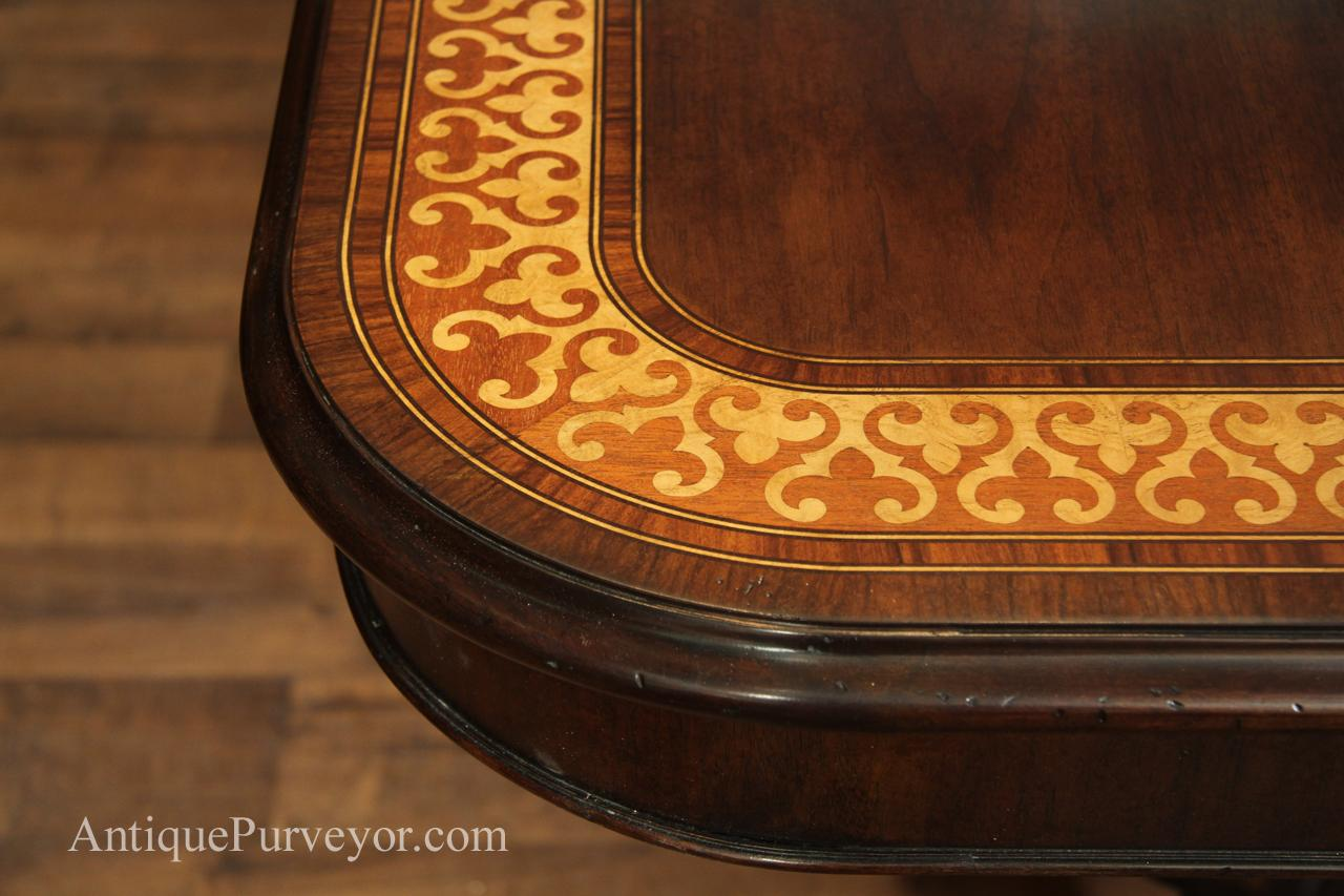 Rustic Walnut Table With Intricate Marquetry Detail Seats 12