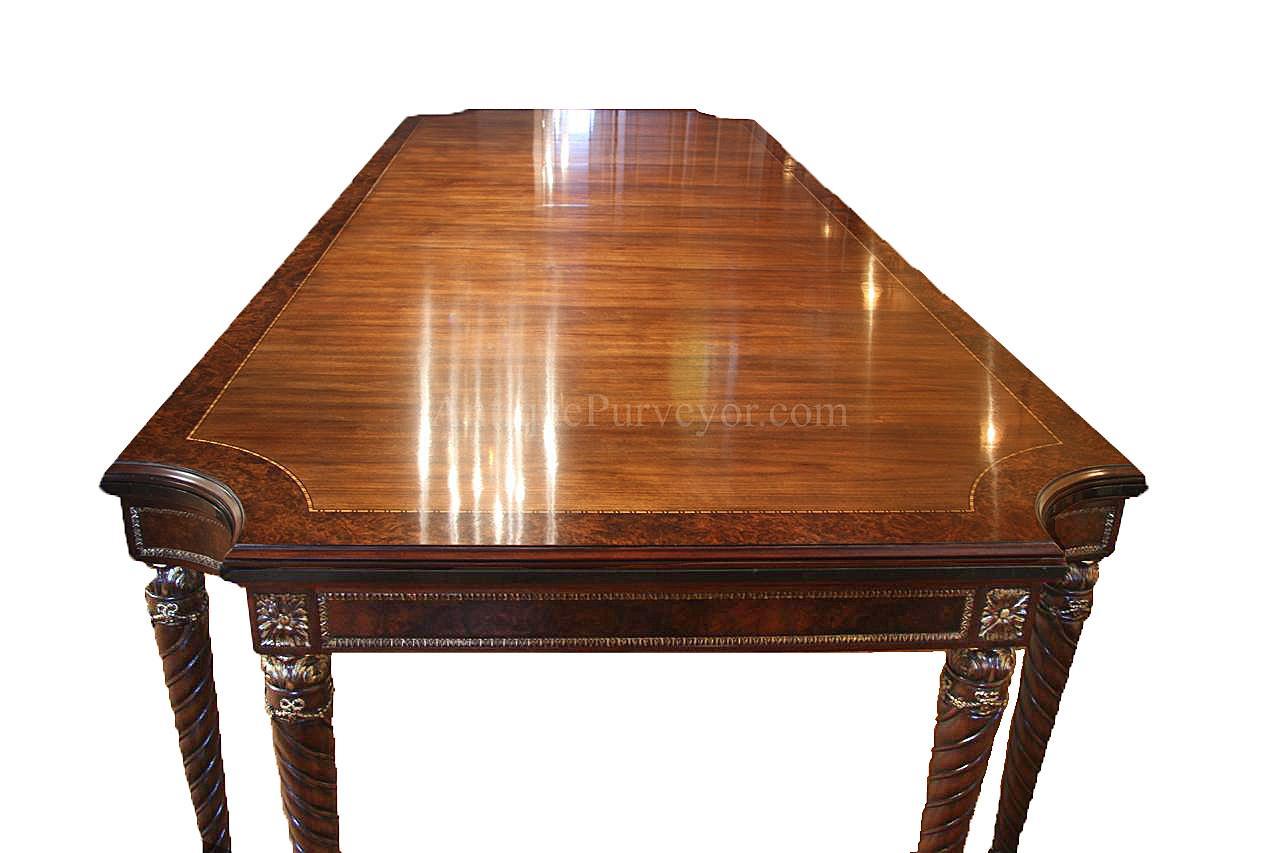 Walnut Dining Table With Heavy Rope Twist Legs U0026 Marble Edge