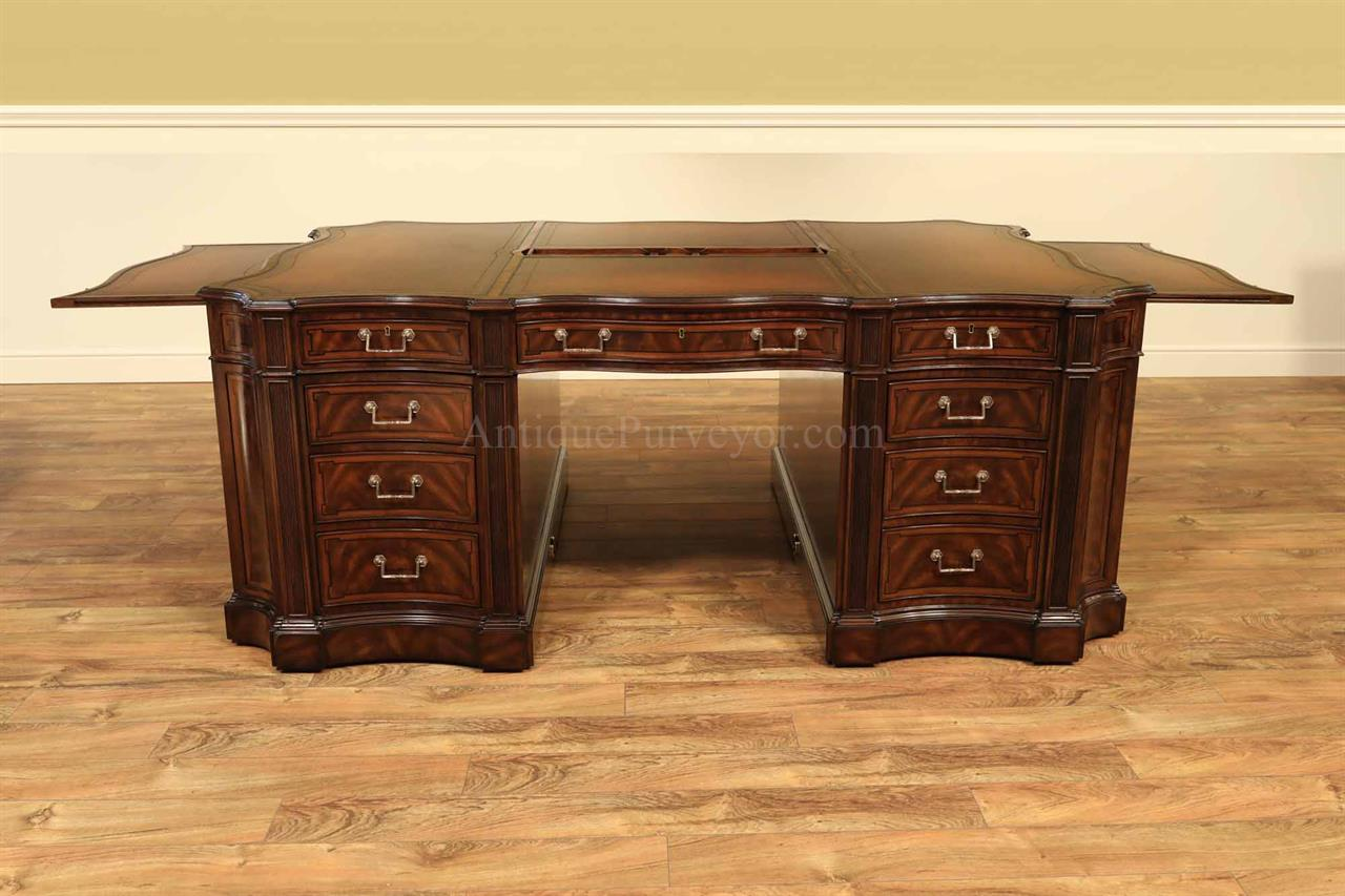 Traditional Leather Top Walnut Partners Desk-High End Antique Reproduction - Leather Top Partners Desk With Flame Walnut And Rosewood Inlays