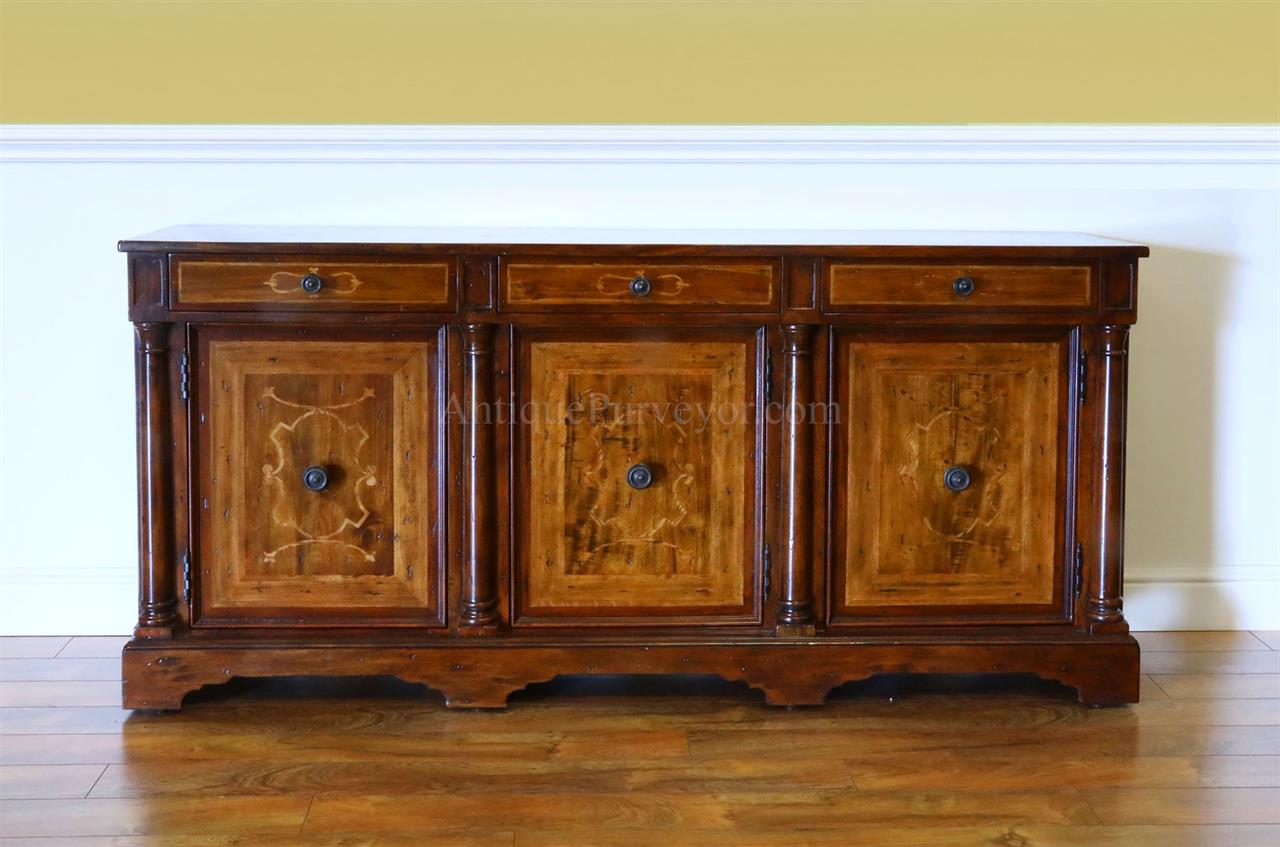 Walnut Sidecabinet or Sideboard with Marquetry.  Rustic Casual Finish