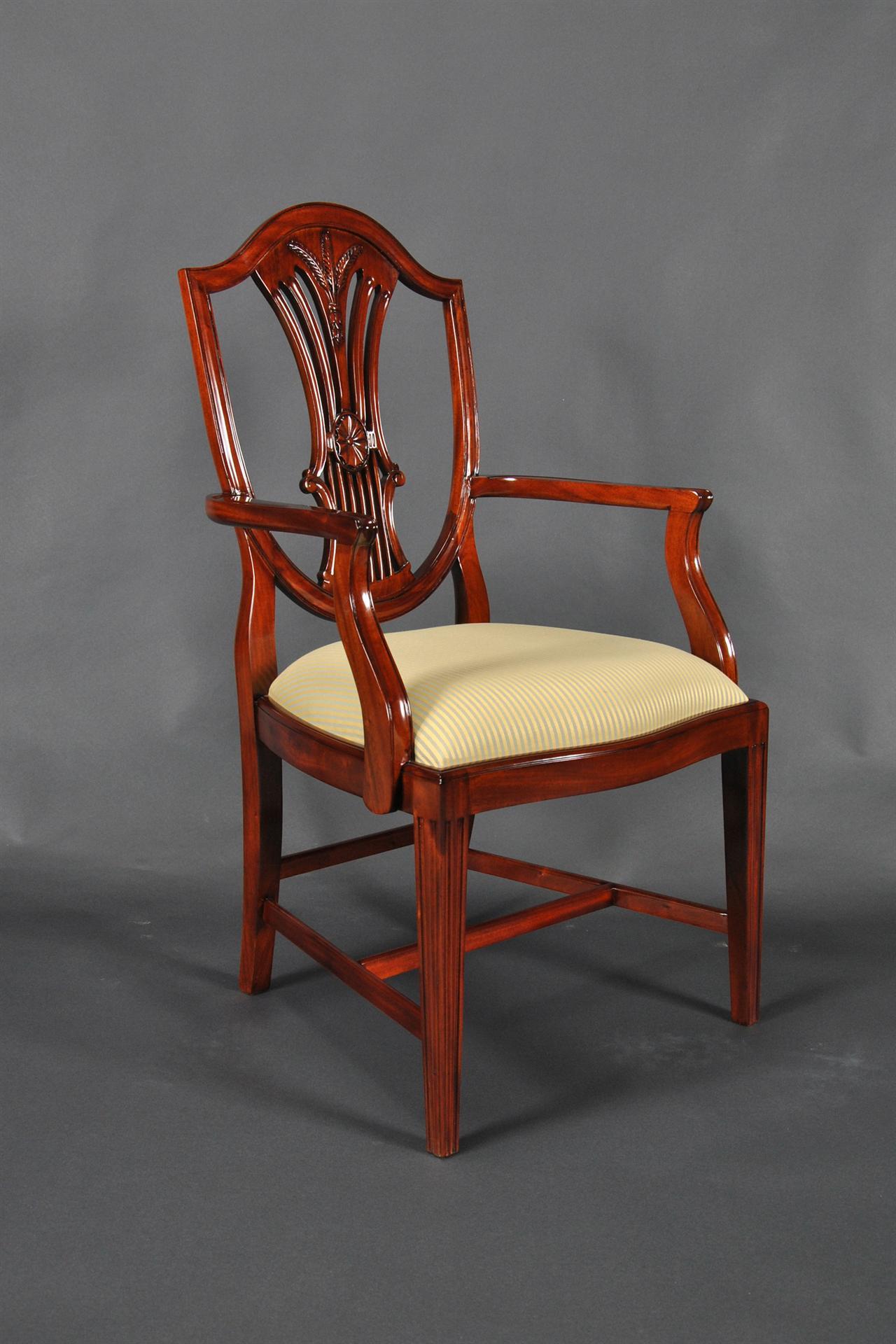 12 Wheatsheaf Carved Shield Back Chairs Extra Tall Set 2