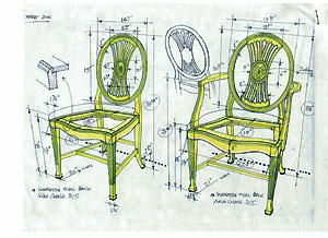 Mahogany Dining Chairs Drawing Of Shield Back To Be Reproduced