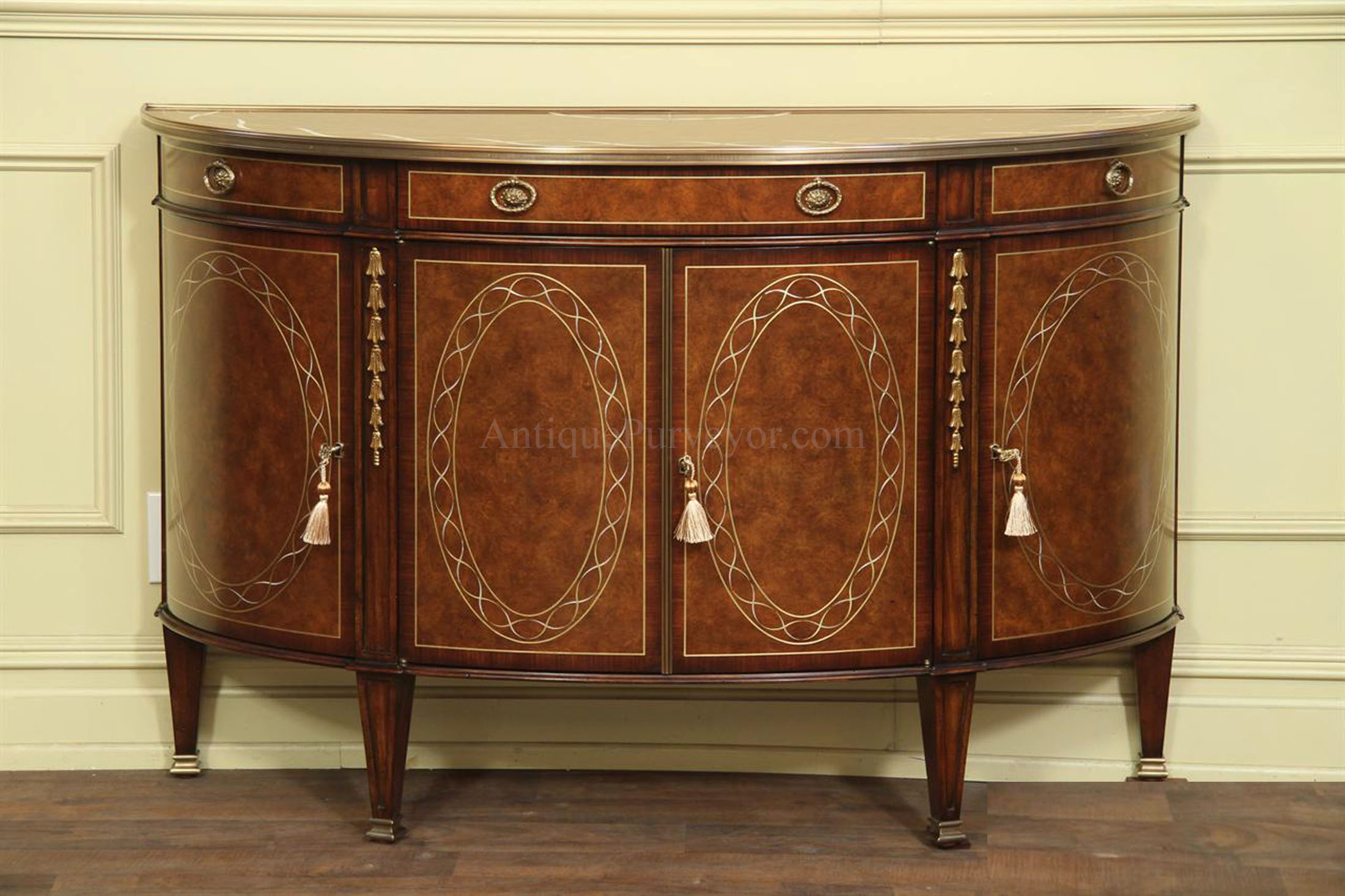 Fine Brass And Pearl Inlaid Dining Room Cabinets Sideboards Demilunes Buffets