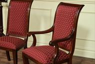 Custom upholstered dining chairs with red and gold mini print